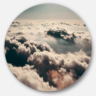 Designart 'Sky above Dark Heavy Clouds' Contemporary Landscape Round Wall Art