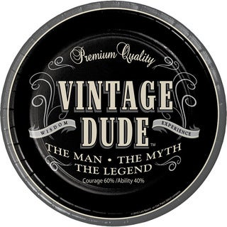 Vintage Dude Black 9-inch Round Disposable Dinner Plates (Case of 96)