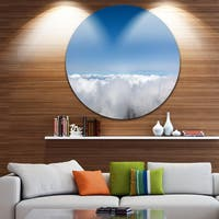 Designart 'Aerial View of Sky over Clouds' Contemporary Landscape Round Metal Wall Art