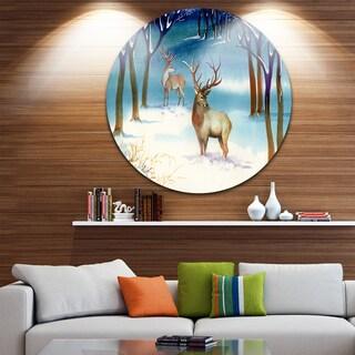 Designart 'Amazing Winter Forest with Deer' Landscape Round Wall Art