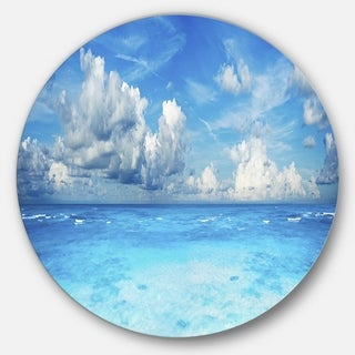 Designart 'Bright Blue Waters and Sky Panorama' Modern Seascape Disc Metal Wall Art