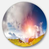 Designart 'Cadini di Misurina Range at Sunset' Landscape Disc Metal Wall Art