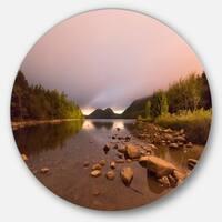 Designart 'Jordan Pond in Acadia Park' Contemporary Landscape Large Disc Metal Wall art
