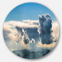 Designart 'Heavy Clouds in Sky Panoramic View' Landscape Round Metal Wall Art