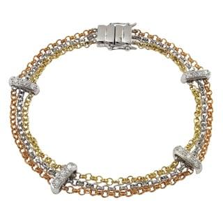 Luxiro Tri-color Cubic Zirconia Bar Multi-strand Bracelet