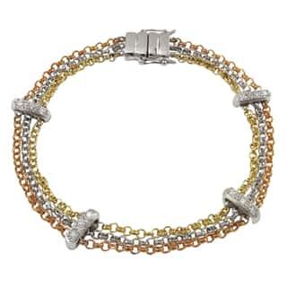 Luxiro Tri-color Cubic Zirconia Bar Multi-strand Bracelet - Silver|https://ak1.ostkcdn.com/images/products/14251220/P20839957.jpg?impolicy=medium
