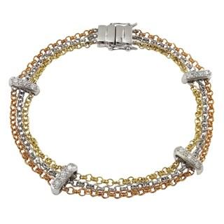 Luxiro Tri-color Cubic Zirconia Bar Multi-strand Bracelet - Silver