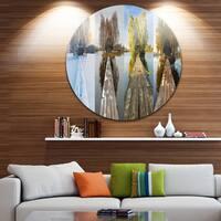 Designart 'Houses on Small Island Panorama' Modern Seascape Large Disc Metal Wall art