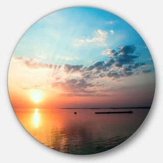 Designart 'Dramatic Sunset Cloudy Sky' Beach Round Metal Wall Art