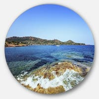 Designart 'Agay Bay in Esterel Rocks Beach' Beach Disc Metal Wall Art