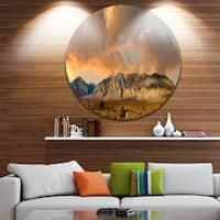 Designart 'Sierra Nevada Mountain' Landscape Round Wall Art