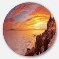 Designart 'Bass Harbor Head Lighthouse Panorama' Modern Seascape Round Metal Wall Art