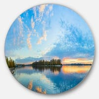 Designart 'Exotic Sunrise on River Autumn' Beach Disc Metal Artwork