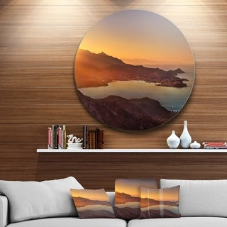 Designart 'Portoferraio Bay Beach Aerial View' Seashore Round Wall Art
