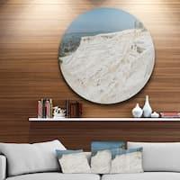 Designart 'Panoramic View of Pammukale' Modern Seascape Circle Wall Art