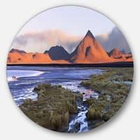 Designart 'Colorada lagoon and Volcano Pabellon' Landscape Disc Metal Wall Art