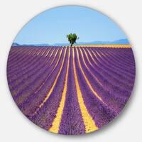Designart 'Lonely Uphill Tree in Lavender Field' Landscape Circle Wall Art