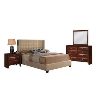 Acme Furniture Mallalai Beige Microfiber Upholstered 4-Piece Espresso Bedroom Set