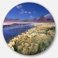 Designart 'Colorada Lagoon and Pabellon Volcano' Beach Round Metal Wall Art