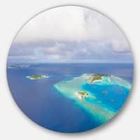 Designart 'Aerial View of Maldives Island' Modern Seascape Circle Wall Art
