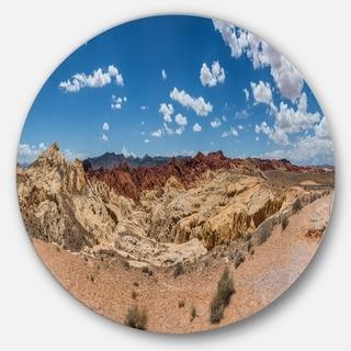 Designart 'Valley of Fire Landscape Panorama' Landscape Disc Metal Wall Art