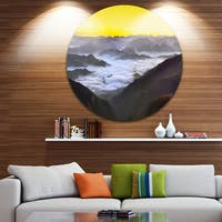 Designart 'Foggy Sunrise Over Mountains' Landscape Large Disc Metal Wall art