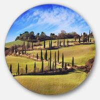 Designart 'Cypress Trees Scenic Road Siena Italy' Landscape Large Disc Metal Wall art