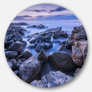 Designart 'Rocky Blue Seashore in Morning' Modern Seascape Disc Metal Artwork