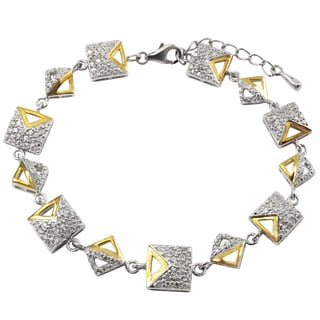 Luxiro Two-tone Sterling Silver Cubic Zirconia Triangle Square Bracelet