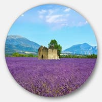 Designart 'Old House and Tree in Lavender Field' Landscape Round Metal Wall Art