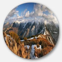 Designart 'Mountains with Sun at Vratna Valley' Landscape Round Metal Wall Art