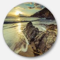 Designart 'Sunset at Beach Vintage Style' Modern Seascape Circle Wall Art
