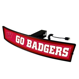 Fanmats Wisconsin Go Badgers Red and White 21-inch Light-up Hitch Cover