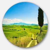 Designart 'Rural Landscape Countryside Farm' Landscape Round Wall Art
