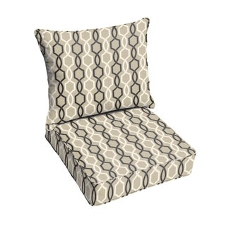 Sloane Black and Tan Indoor/ Outdoor Corded Chair Cushion and Pillow Set