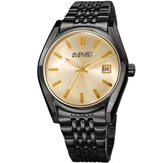 August Steiner Women's Date Sunray Stainless Steel Black Link Bracelet Watch