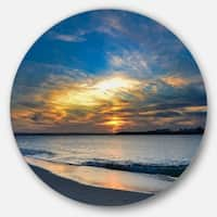 Designart 'Bright Colorful Sydney Sky Over Beach' Seashore Round Metal Wall Art