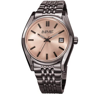 August Steiner Women's Date Sunray Stainless Steel Gun Link Bracelet Watch