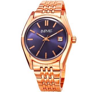 August Steiner Women's Date Sunray Stainless Steel Rose-Tone/Blue Link Bracelet Watch