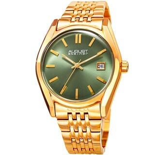 August Steiner Women's Date Sunray Stainless Steel Gold-Tone/Green Link Bracelet Watch
