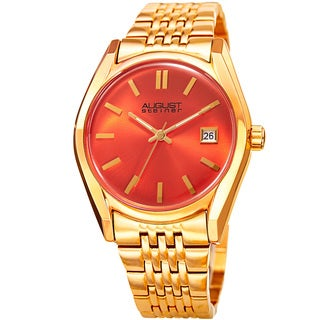August Steiner Women's Date Sunray Stainless Steel Gold-Tone/Orange Link Bracelet Watch
