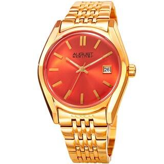 August Steiner Women's Date Sunray Stainless Steel Gold-Tone/Orange Link Bracelet Watch