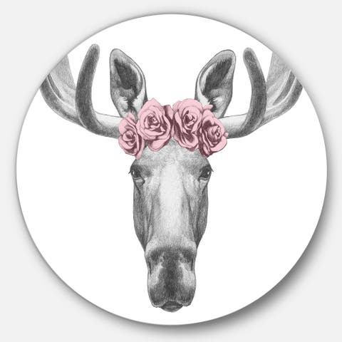 Silver Orchid 'Moose with Floral Head Wreath' Moose Round Wall Art