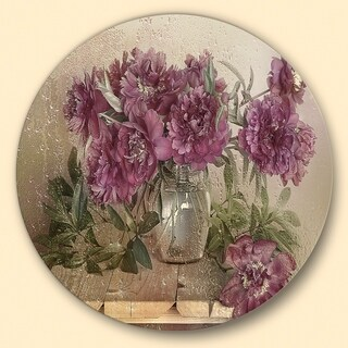Designart 'Bouquet of Pink Peonies' Floral Large Disc Metal Wall art (3 options available)