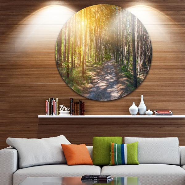 Designart 'Thick Forest with Yellow Sun Rays' Landscape Photo Disc Metal Wall Art