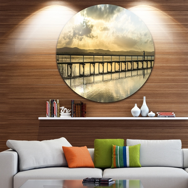 Designart 'Long Jetty Foreshore Reserve Panorama' Sea Bridge Round Metal Wall Art