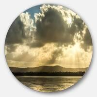 Designart 'Heavy Clouds over Foreshore Reserve' Seashore Large Disc Metal Wall art