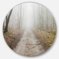 Designart 'Straight Forest Road in Fall' Landscape Photo Round Metal Wall Art