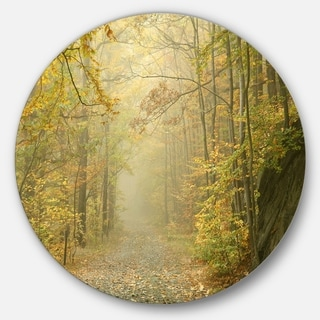 Designart 'Autumn Forest Path on Misty Morning' Landscape Photo Disc Metal Wall Art