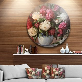 Designart 'Bouquet of Blooming Peonies' Floral Large Disc Metal Wall art